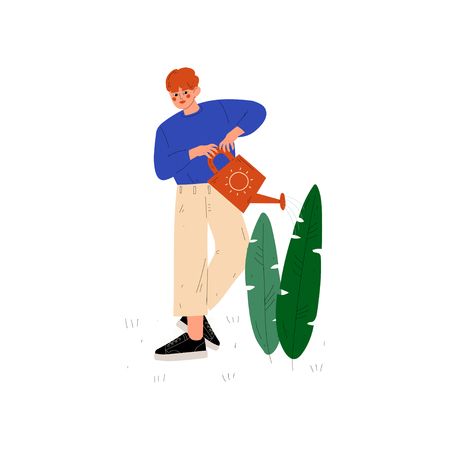 Boy Watering Plant with Watering Can, Guy Working in Garden or Farm Vector Illustration on White Background. Illustration
