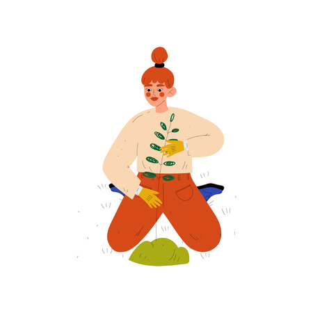 Girl Gardening Plant, Young Woman Working in Garden or Farm Vector Illustration on White Background. Illustration