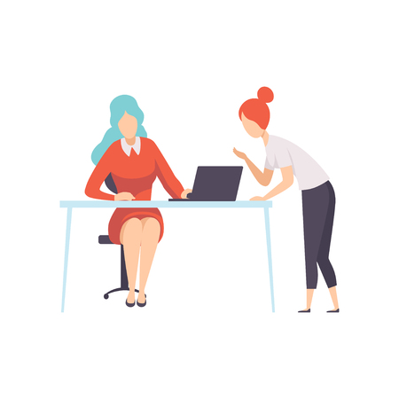 Two Businesswoman Working in Office, Office Employee Characters Working on Project Vector Illustration on White Background. Çizim