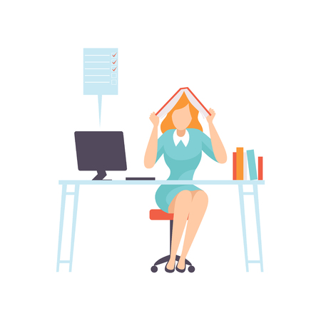 Overworked Businesswoman Seating in Office with Book on Her Head, Business Employee Character Daily Routine Vector Illustration on White Background.