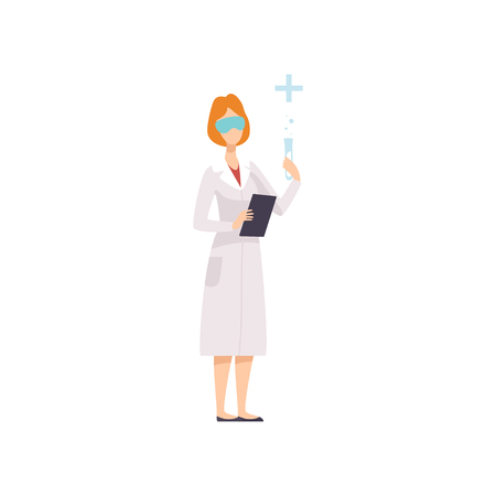 Woman Wearing Glasses and Coat Working in Laboratory, Female Scientist Character Holding Flasks and Clipboard Vector Illustration on White Background. Illustration