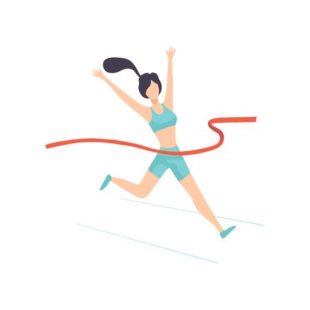 Girl Crossing Finish Line, Female Professional Sportsman Character Vector Illustration on White Background.