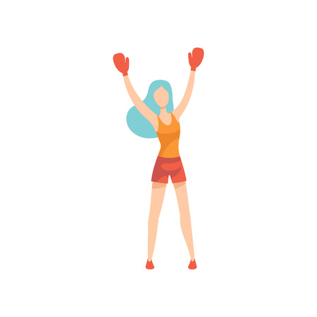 Woman Boxer Character Wearing Sports Uniform and Gloves Standing With Her Hands Raised Vector Illustration on White Background.