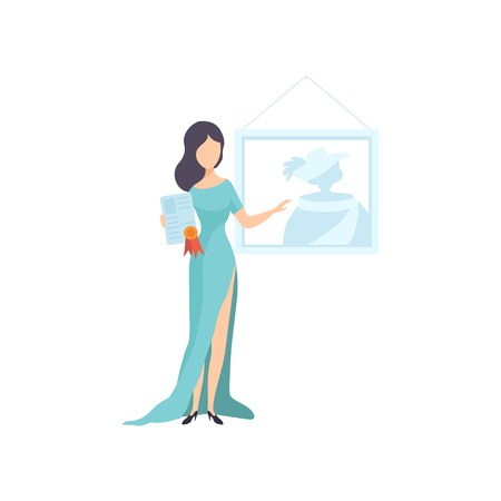 Beautiful Woman Wearing Long Dress Holding Certificate or Diploma Vector Illustration on White Background. Foto de archivo - 125272507