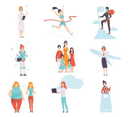 Women of Different Professions Set, Achievements of Young Women in Field of Science, Sport, Business, Society Vector Illustration on White Background.