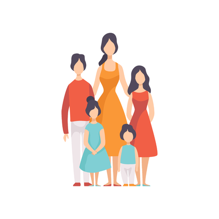 Mother of Many Children with Two Daughters and Sons Vector Illustration on White Background.