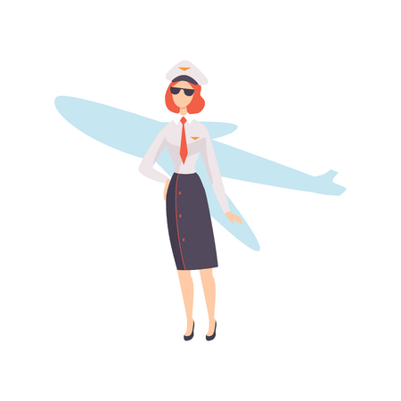 Female Airline Pilot Character in Uniform Vector Illustration Stock Illustratie