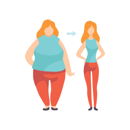 Young Woman Before and After Losing Weight, Overweight and Athletic Version of Girl Vector Illustration on White Background.