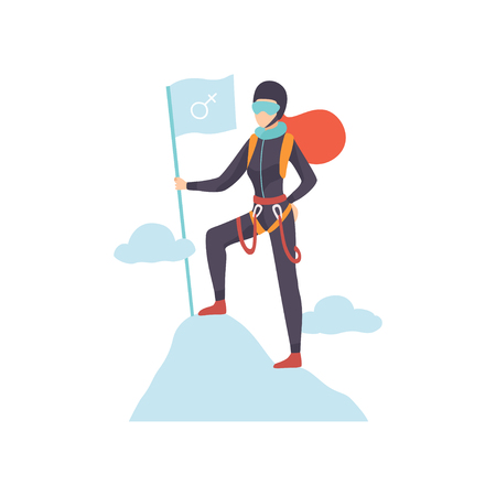 Woman Climber in Protective Helmet and Glasses Standing with Flag on Mountain peak Vector Illustration on White Background.