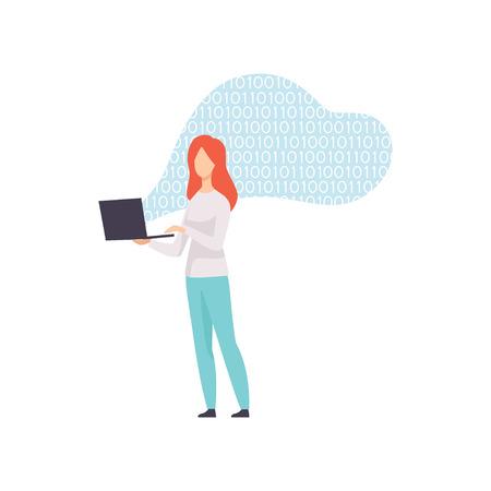 Female Programmer Character Coding on Laptop Computer Vector Illustration on White Background.