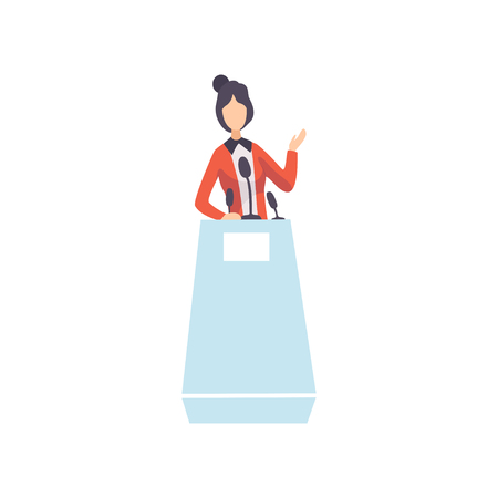 Woman Standing Behind Rostrum Giving Speech, Businesswoman or Politician Character, Public Speaker, Political Debates Vector Illustration on White Background.