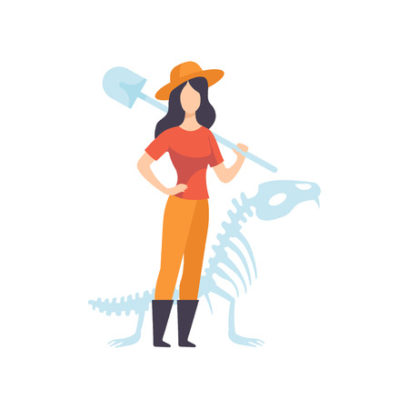 Female Archaeologists or Paleontologist Character Standing with Shovel Vector Illustration on White Background.