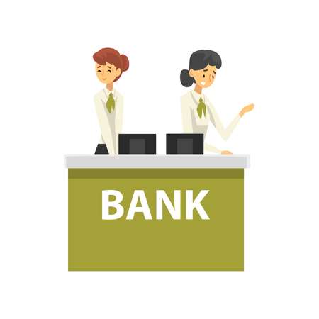 Managers Working at Reception Desk at Bank Office, Female Bank Workers Providing Services to Customers Vector Illustration on White Background. Standard-Bild - 125208863