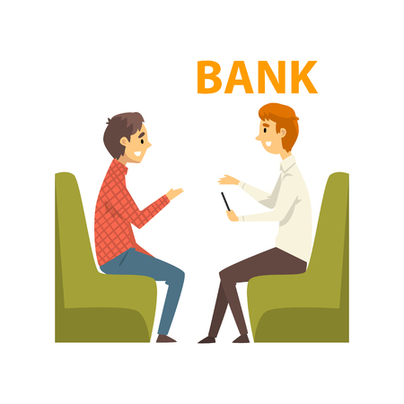 Male Client Consulting at Manager, Meeting at Bank Office, Bank Worker Providing Services to Customer Vector Illustration