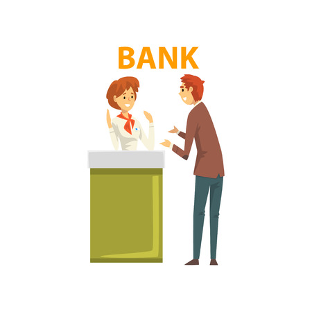 Male Client Consulting at Manager at Reception Desk at Bank Office Vector Illustration on White Background.