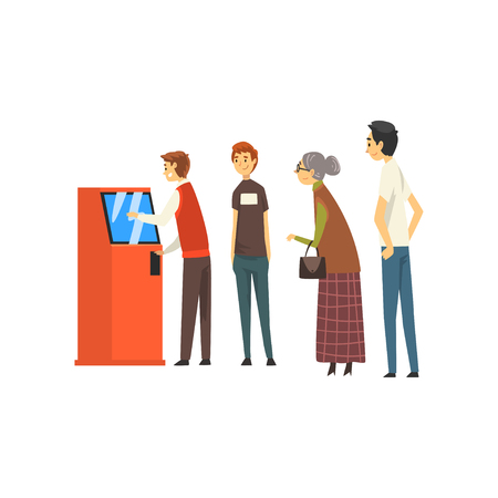 People Waiting in Line Queue to Draw Money from Automated Teller Machine, Man Getting Money Through Cash Dispenser, Banking service Vector Illustration on White Background. Illusztráció
