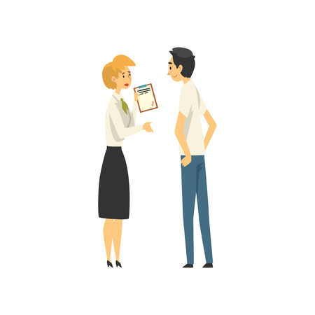 Client Consulting at Manager at Bank Office, Female Bank Worker Providing Services to Male Customer Vector Illustration on White Background. Imagens - 125208865