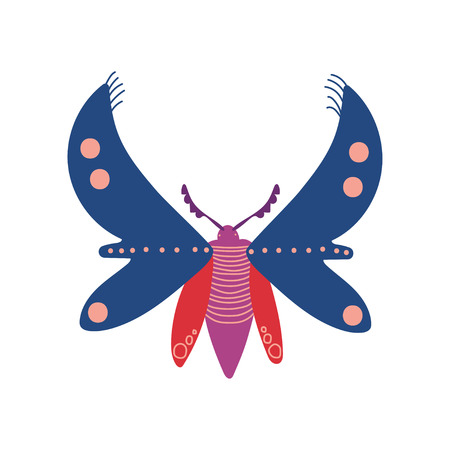 Flying Insect, Colorful Butterfly Top View Vector Illustration on White Background.