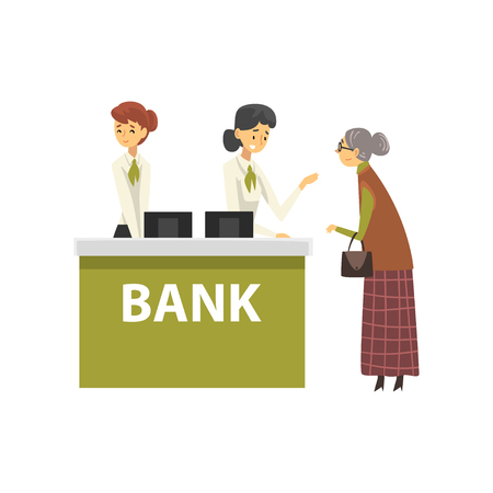 Elderly Woman Consulting at Manager, Bank Office Reception Service Meeting Client Vector Illustration on White Background.