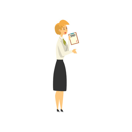 Female Manager Character Working at Bank, Public access to financial services Vector Illustration on White Background. 向量圖像