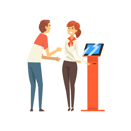 Male Client Consulting at Friendly Female Manager at Bank Office, Female Worker Providing Services to Customer Vector Illustration on White Background.