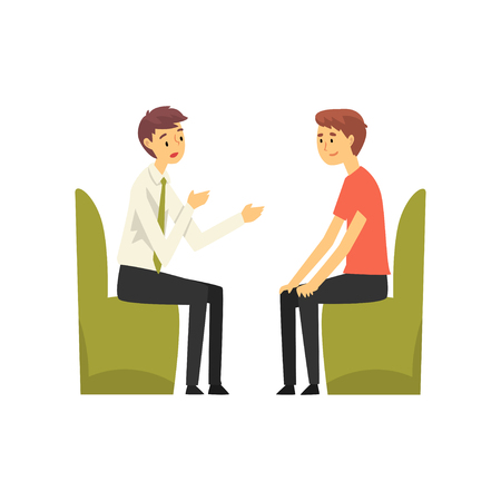 Man Talking to Manager at Bank Office, Bank Worker Providing Services to Customer Vector Illustration on White Background.