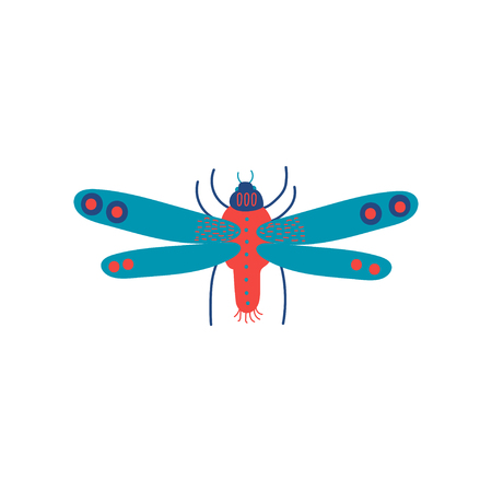 Cute Colorful Flying Insect, Top View Vector Illustration on White Background.