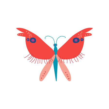 Cute Colorful Butterfly Insect, Top View Vector Illustration on White Background.