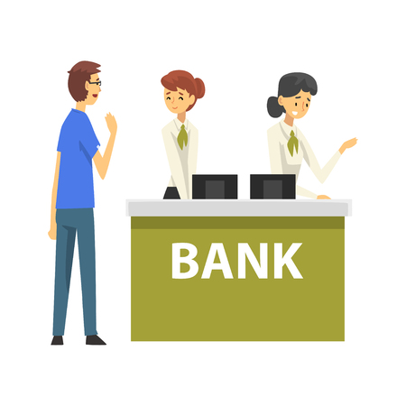 Male Client Consulting at Manager, Female Bank Workers Providing Services to Customers, Reception Service Meeting Clients Vector Illustration on White Background. Standard-Bild - 125208874