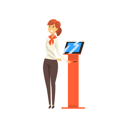 Friendly Female Manager Consulting at Bank Office Vector Illustration on White Background. Standard-Bild - 125208875