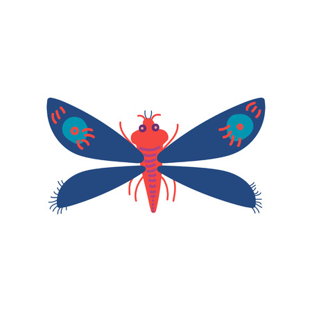 Colorful Flying Insect, Butterfly, Top View Vector Illustration on White Background.