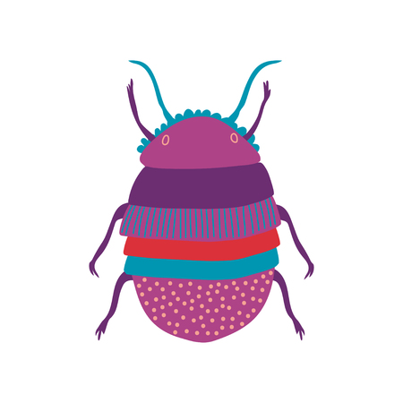 Cute Colorful Scarab Insect, Top View Vector Illustration on White Background.