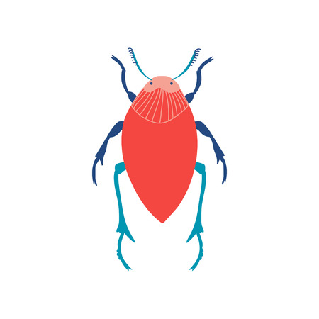 Colorful Beetle Insect, Top View Vector Illustration