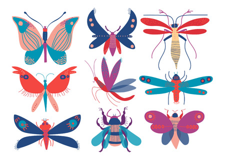 Colorful Cute Insects Set, Butterfly, Beetle, Bug, Mosquito, Moth, Dragonfly, Top View Vector Illustration