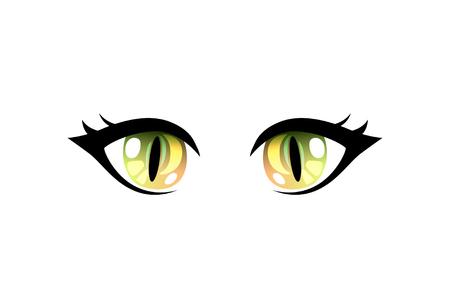 Bright Beautiful Green Eyes with Light Reflections Manga Japanese Style Vector Illustration on White Background. Ilustração