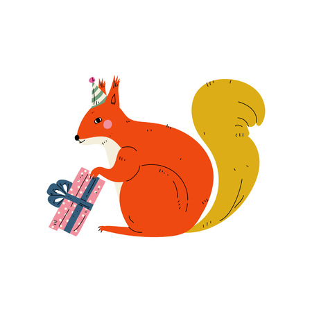 Squirrel Wearing Party Hat with Gift Box, Cute Animal Character for Happy Birthday Design Vector Illustration on White Background. Illustration