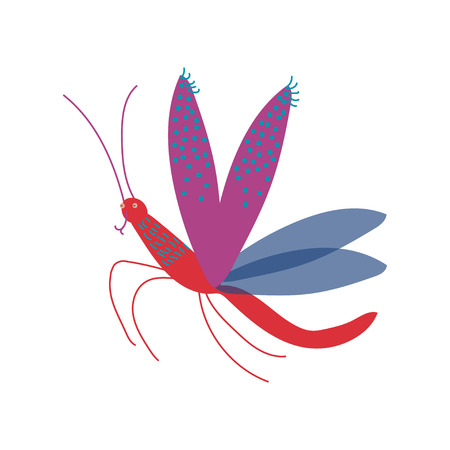 Cute Colorful Flying Mosquito Insect Vector Illustration Illustration