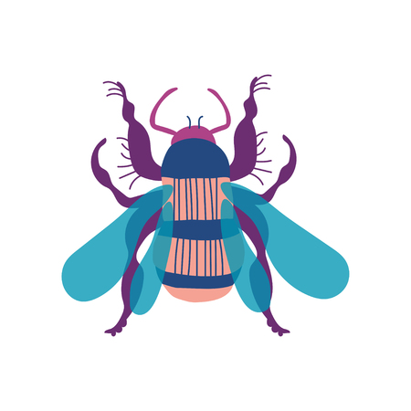 Cute Colorful Wasp Insect, Top View Vector Illustration on White Background.  イラスト・ベクター素材