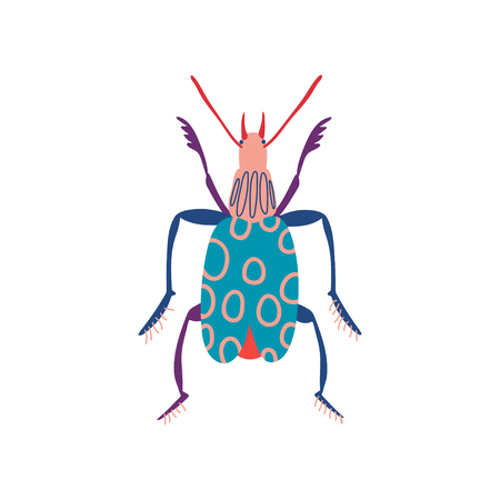 Colorful Insect, Cute Beetle Top View Vector Illustration  イラスト・ベクター素材