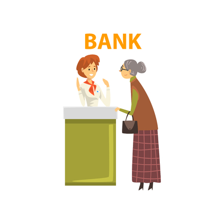 Elderly Woman Consulting at Manager at Bank Office, Female Bank Worker Providing Services to Client Vector Illustration on White Background.