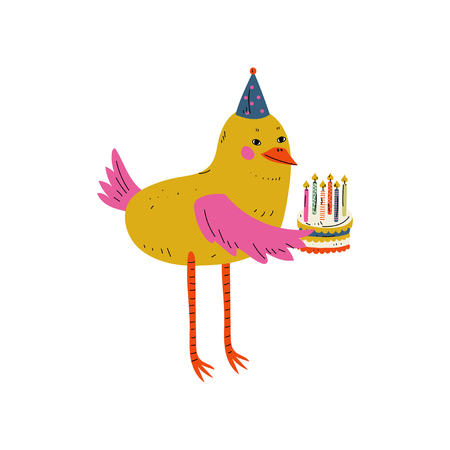 Cute Bird Character Holding Birthday Cake with Burning Candles Vector Illustration on White Background. Illustration