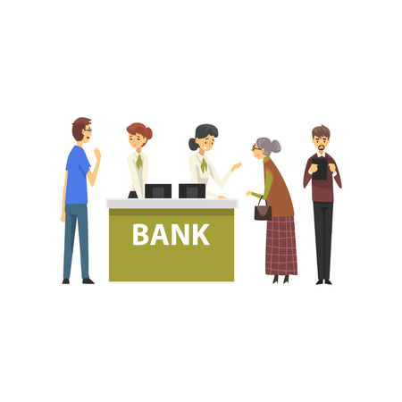 People Consulting at Managers at Bank Office, Female Bank Workers Providing Services to Clients Vector Illustration on White Background.