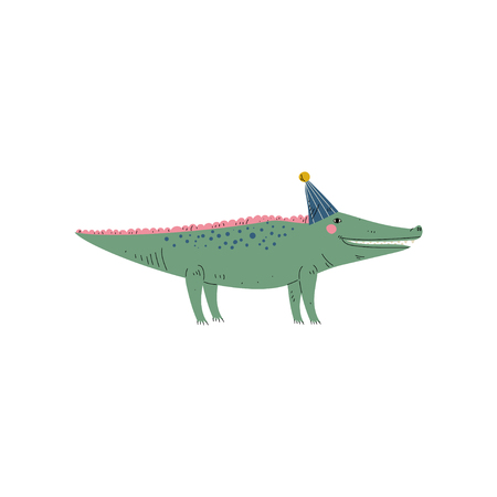 Cute Crocodile Wearing Party, Animal Character for Happy Birthday Design Vector Illustration on White Background.