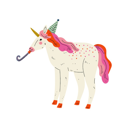 Lovely Unicorn Wearing Party Hat with Whistle Blower,  Cute Animal Character for Happy Birthday Design Vector Illustration