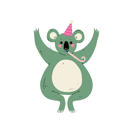 Cute Coala Bear Wearing Party Hat with Whistle Blower, Cute Animal Character for Happy Birthday Design Vector Illustration on White Background.