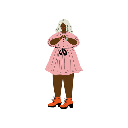 Plump African American Woman With Blond Hair, Female Character Loving Her Body, Self Acceptance, Beauty Diversity, Body Positive Vector Illustration on White Background.