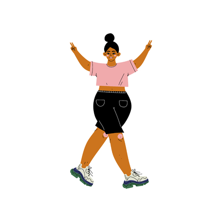 Beautiful Plus Size Woman in Casual Clothes, African American Female Character Loving Her Body, Self Acceptance, Beauty Diversity, Body Positive Vector Illustration on White Background.