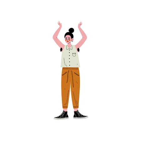 Jeune femme debout avec son bras levé pour montrer les cheveux dans ses aisselles, personnage féminin aimant son corps, acceptation de soi, diversité de la beauté, illustration vectorielle positive du corps sur fond blanc.