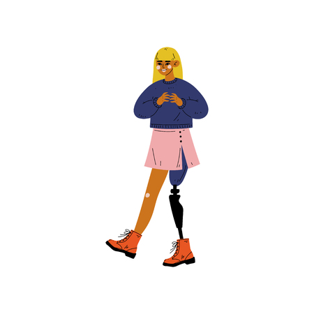 Young Woman with Artificial Leg, Self Acceptance, Beauty Diversity, Body Positive Vector Illustration on White Background. Illustration