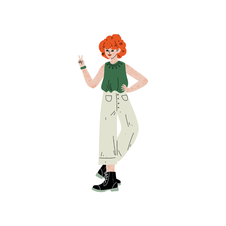 Red Haired Freckled Girl Showing Victory Sign, Female Character Loving Her Body, Self Acceptance, Beauty Diversity, Body Positive Vector Illustration on White Background. 向量圖像